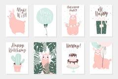 Cute pink lamas hand drawn illustrations. Set of 8 cute cards vector illustration