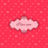 Cute pink love you card Royalty Free Stock Image