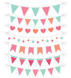 Cute pink and mint bunting Stock Images