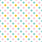 Cute pink, mint green and gold abstract diamonds, sparks seamless pattern background Royalty Free Stock Image