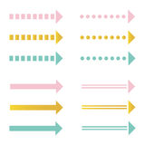 Cute pink, mint green and gold arrow set, collection isolated on white background Royalty Free Stock Image