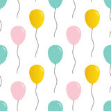 Cute pink, mint green and gold balloons seamless pattern background Stock Photos