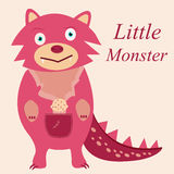 Cute pink monster with fangs Stock Images