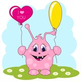 Cute pink monster loves you Stock Images
