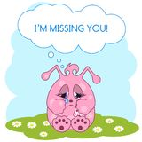 Cute pink monster is missing you Stock Images