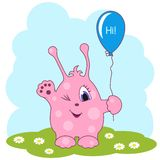 Cute pink monster says you hi Royalty Free Stock Images
