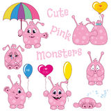 Cute pink monsters Royalty Free Stock Image