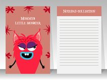 Cute pink notebook with girl monster. Cute pink notebook template for kids with girl red monster, vector illustration Stock Image