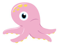 Cute pink Octopus isolated on white stock illustration