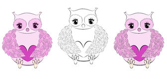 Cute pink owl with heart Royalty Free Stock Images