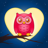 Cute pink owl perched on a branch Royalty Free Stock Photos