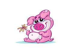 Cute pink pig. With flower Royalty Free Stock Photo