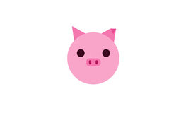 Cute pink pig, animal illustration Stock Images