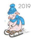 Cute pink pig. Happy New Year. Chinese symbol of the 2019 year. Excellent festive gift card. Vector illustration on white stock illustration