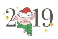 Cute pink pig. Happy New Year. Chinese symbol of the 2019 year. Excellent festive gift card. Vector illustration on white royalty free illustration