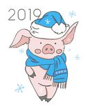 Cute pink pig. Happy New Year. Chinese symbol of the 2019 year. Excellent festive gift card. Vector illustration on white vector illustration