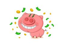 Cute pink pig with rain from money. stock illustration