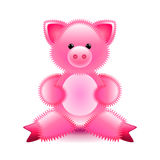 Cute pink pig soft toy isolated on white vector Royalty Free Stock Photography