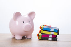 Cute pink piggy bank with ink cartridges Stock Photography