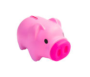 Cute pink piggy bank isolated Royalty Free Stock Photography