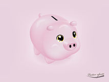 Cute pink piggy bank. Realistic cute pink piggy bank on pink background vector Royalty Free Stock Photography