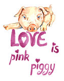 Cute pink piggy lay, valentine card design with handwritten inscriptions Royalty Free Stock Image