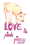 Cute pink piggy standing, valentine card design with handwritten inscriptions Royalty Free Stock Photography