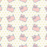 Cute Pink Pigs Farm Animal Retro Pattern Isolated Background. Royalty Free Stock Image