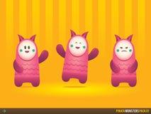 Cute Pink Pinata Monsters royalty free stock photo