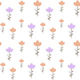 Cute pink and purple flowers on white background seamless pattern illustration Royalty Free Stock Images