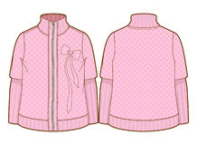 Cute pink quilted jacket with zipper closure. Front and back sides of a jacket royalty free illustration