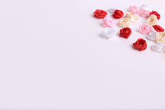 Cute pink, red, white and cream flowers on a white background Royalty Free Stock Photos