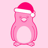 Cute pink santa penguin Stock Photos