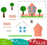 Cute Pink School Building with Yard and Fence Cut and Glue Game royalty free illustration