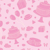 Cute pink seamless festive background. With sweets vector illustration. EPS 10 Royalty Free Stock Photos