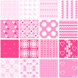 Cute pink seamless patterns. Endless texture. 16 Cute pink seamless patterns. Endless texture for wallpaper, fill, web page background, surface texture. Set of stock illustration