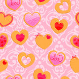 Cute pink seamless Valentine's Day pattern Stock Image