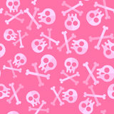 Cute Pink Skulls And Bones For Repeatable Pattern Stock Image