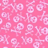 Cute Pink Skulls And Bones For Repeatable Pattern Stock Image