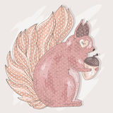 Cute pink squirrel holding acorn. Royalty Free Stock Images