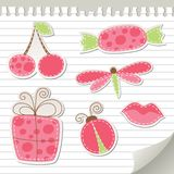 Cute pink stickers. Set on realistic paper Stock Photo