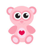 Cute pink teddy bear icon, flat design. Isolated on white background Stock Image