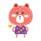 Cute pink teddy bear in purple dress standing. Funny lovely animal colorful cartoon character vector Illustration Royalty Free Stock Images