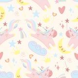 Seamless pattern with unicorn and moon - vector illustration, eps stock illustration
