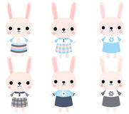 Cute pink vector bunnies Royalty Free Stock Image