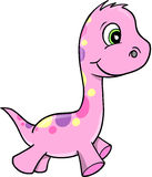 Cute Pink Vector Dinosaur Stock Images