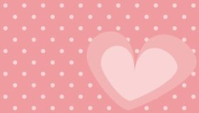 Cute pink vector heart with polka dots background Stock Photography