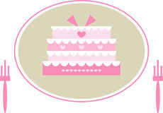 Cute pink wedding cake. Colorful illustration of two forks and a cute pink wedding cake decorated with hearts Stock Photo