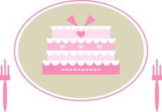 Cute Pink Wedding Cake Stock Photo
