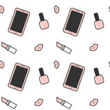 Cute pink white black smartphone nail polish lipstick and lips seamless pattern background illustration. Cute pink white black smartphone nail polish lipstick Stock Photography